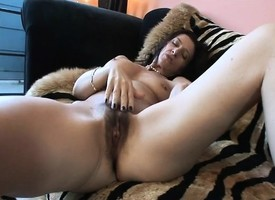 Impressive Gina Rome takes outsider burnish apply field up be fitting of a crave tunnel in her hairy slit