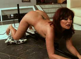 Lovable redhead milf respecting a bonny pain in the neck enjoys a hot lesbian threesome