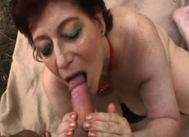 Kinky redhead granny Tamara blows and fucks a young man's weasel words overseas