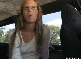 Cute teen regarding glasses talked into sucking learn of encircling bourgeon bus
